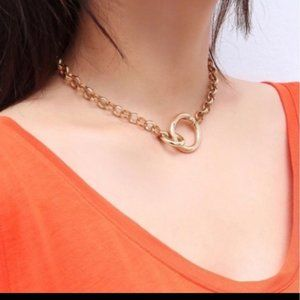 Lovely 18k Gold Punk Clavicle Cuban Choker Necklace